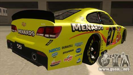 Chevrolet SS NASCAR No. 27 Menards para la visión correcta GTA San Andreas