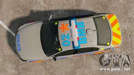 BMW M5 E60 Metropolitan Police 2006 ARV [ELS] para GTA 4 visión correcta