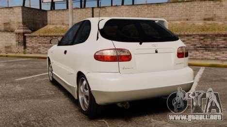 Daewoo Lanos GTI 1999 Concept para GTA 4 Vista posterior izquierda