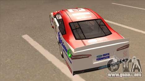 Ford Fusion NASCAR No. 21 Motorcraft Quick Lane para GTA San Andreas vista hacia atrás