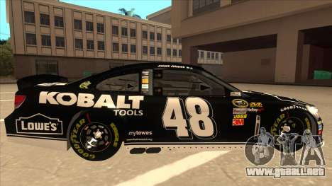 Chevrolet SS NASCAR No. 48 Kobalt Tools para GTA San Andreas vista posterior izquierda