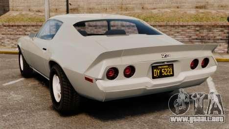 Chevrolet Camaro Z28 1970 para GTA 4 Vista posterior izquierda