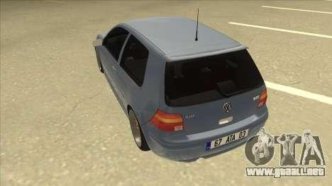 Volkswagen Golf MK4 Gti Eurolook para GTA San Andreas vista hacia atrás