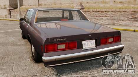 Chevrolet Impala 1985 para GTA 4 Vista posterior izquierda