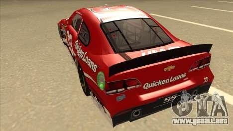 Chevrolet SS NASCAR No. 39 Quicken Loans para GTA San Andreas vista hacia atrás