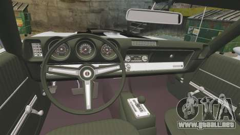 Oldsmobile Cutlass Hurst 442 1969 v2 para GTA 4 vista interior
