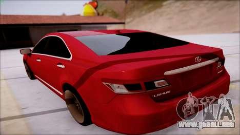 Lexus ES350 2010 para GTA San Andreas vista posterior izquierda