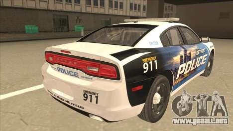 Dodge Charger Detroit Police 2013 para la visión correcta GTA San Andreas