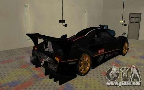 Pagani Zonda R SPS para GTA San Andreas vista posterior izquierda