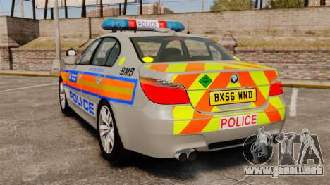 BMW M5 E60 Metropolitan Police 2006 ARV [ELS] para GTA 4 Vista posterior izquierda