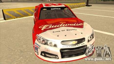 Chevrolet SS NASCAR No. 29 Budweiser para GTA San Andreas left