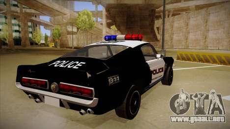 Shelby Mustang GT500 Eleanor Police para la visión correcta GTA San Andreas