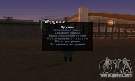 Versión en inglés menú cheat para GTA San Andreas segunda pantalla