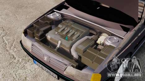 Peugeot 405 GLX para GTA 4 vista hacia atrás