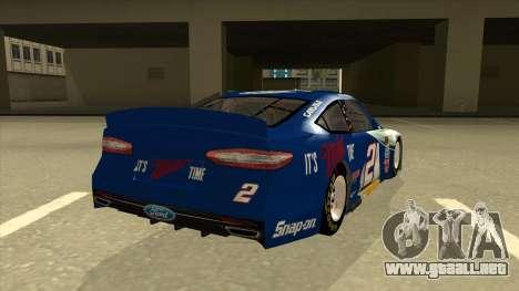 Ford Fusion NASCAR No. 2 Miller Lite para la visión correcta GTA San Andreas