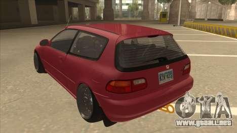Honda Civic EG6 Camber para GTA San Andreas vista hacia atrás