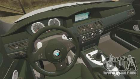 BMW M5 E60 Metropolitan Police 2006 ARV [ELS] para GTA 4 vista lateral