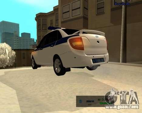 Lada Granta 2190 policía v 2.0 para GTA San Andreas vista posterior izquierda