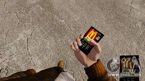 Temas para las marcas de comida rápida de teléfo para GTA 4 tercera pantalla