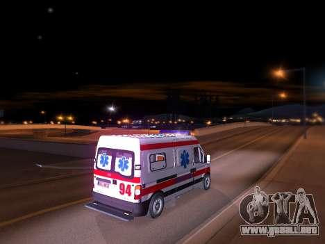 Renault Master ambulancia Serbio para GTA San Andreas vista posterior izquierda