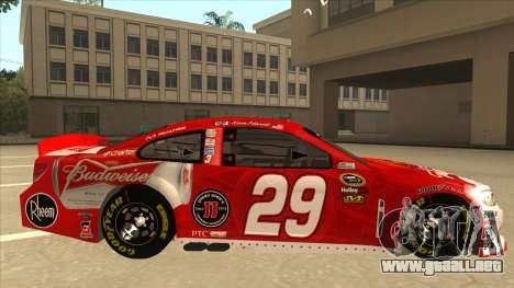 Chevrolet SS NASCAR No. 29 Budweiser para GTA San Andreas vista posterior izquierda