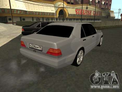 Mercedes-Benz W140 S600 para GTA San Andreas vista posterior izquierda
