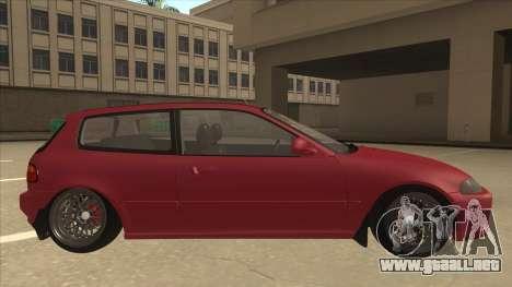 Honda Civic EG6 Camber para GTA San Andreas vista posterior izquierda