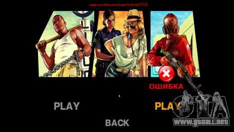 Menú y arranque imágenes al estilo de GTA V para GTA 4 adelante de pantalla