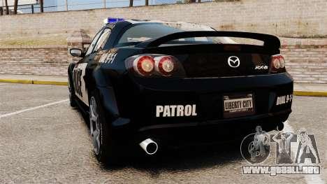 Mazda RX-8 R3 2011 Police para GTA 4 Vista posterior izquierda