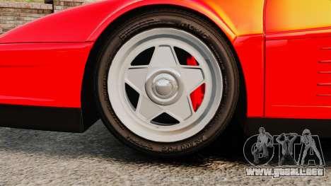 Ferrari Testarossa 1986 para GTA 4 vista hacia atrás