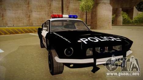 Shelby Mustang GT500 Eleanor Police para GTA San Andreas left