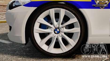 BMW M5 Touring Croatian Police [ELS] para GTA 4 vista hacia atrás
