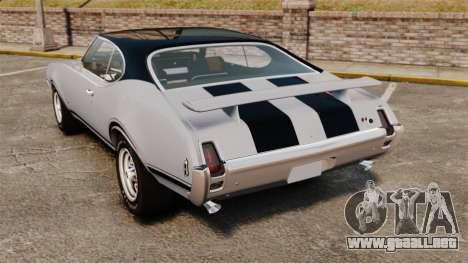 Oldsmobile Cutlass Hurst 442 1969 v2 para GTA 4 Vista posterior izquierda