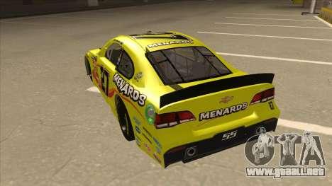 Chevrolet SS NASCAR No. 27 Menards para GTA San Andreas vista hacia atrás