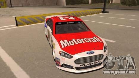 Ford Fusion NASCAR No. 21 Motorcraft Quick Lane para GTA San Andreas left