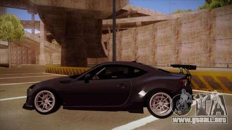 Subaru BRZ Rocket Bunny para GTA San Andreas vista posterior izquierda