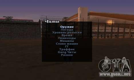 Versión en inglés menú cheat para GTA San Andreas