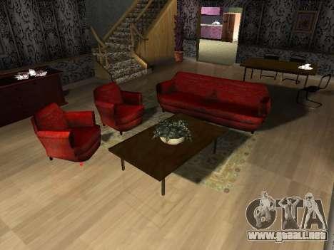 Nuevo edificio de 2 pisos interior CJ para GTA San Andreas quinta pantalla