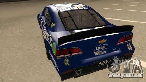 Chevrolet SS NASCAR No. 48 Lowes blue para GTA San Andreas vista hacia atrás