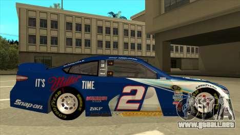 Ford Fusion NASCAR No. 2 Miller Lite para GTA San Andreas vista posterior izquierda