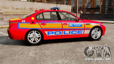 BMW M5 E60 Metropolitan Police 2010 ARV [ELS] para GTA 4 left