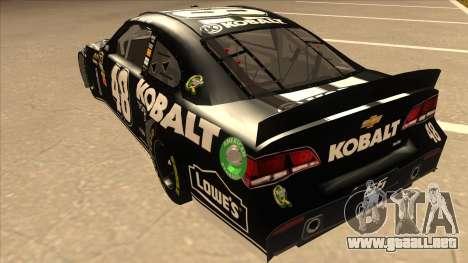 Chevrolet SS NASCAR No. 48 Kobalt Tools para GTA San Andreas vista hacia atrás