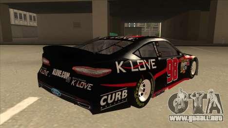 Ford Fusion NASCAR No. 98 K-LOVE para la visión correcta GTA San Andreas