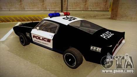 Shelby Mustang GT500 Eleanor Police para GTA San Andreas vista hacia atrás