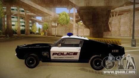 Shelby Mustang GT500 Eleanor Police para GTA San Andreas vista posterior izquierda