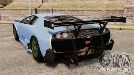 Lamborghini Murcielago RSV FIA GT1 v3.0 para GTA 4 Vista posterior izquierda