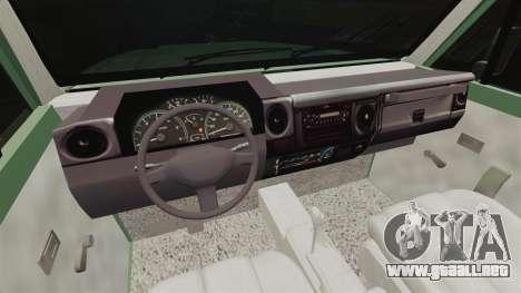 Toyota Land Cruiser 76 2005 para GTA 4 vista hacia atrás