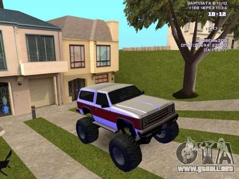 Rancher Monster para GTA San Andreas vista hacia atrás