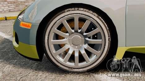Bugatti Veyron Gold Centenaire 2009 para GTA 4 vista hacia atrás