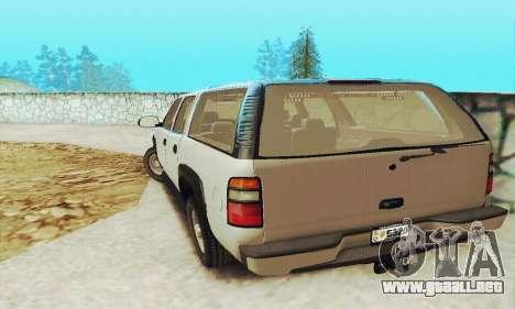 Chevrolet Suburban SAPD FBI para GTA San Andreas vista hacia atrás